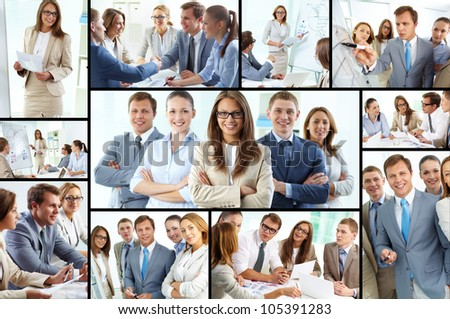 Collage of confident business team working together - stock photo