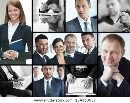 Collage of confident businesspeople in formalwear - stock photo