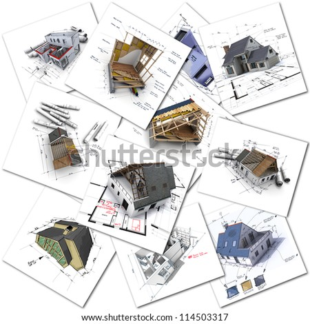 Collage of construction and architecture renderings - stock photo