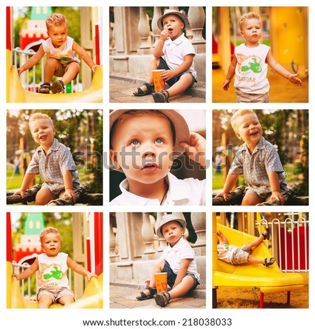collage of cute boy on playground - stock photo