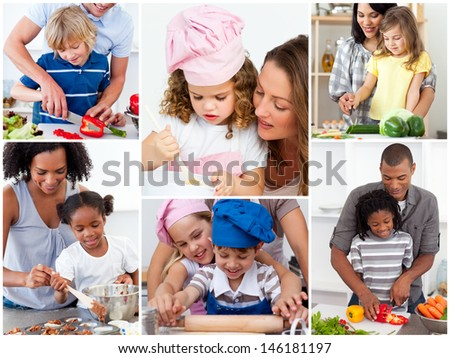 Collage of cute families cooking together - stock photo