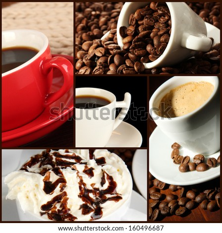 Collage of delicious coffee - stock photo
