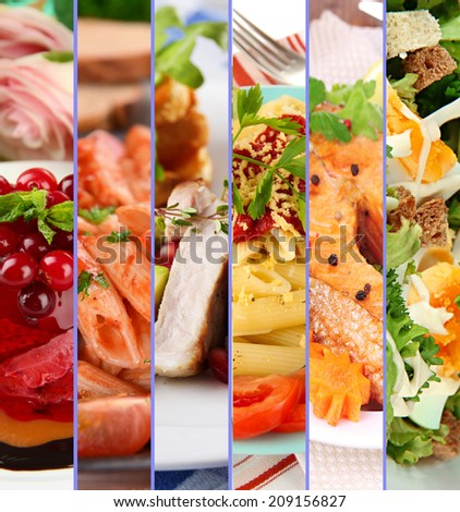 Collage of delicious food close-up - stock photo