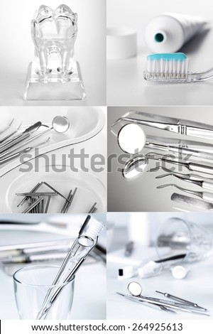 Collage of dental healthcare - stock photo