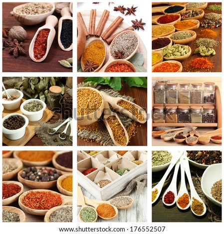 Collage of different aroma spices - stock photo