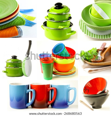 collage of different cookware (pots, pans, bowls, cups and plates) - stock photo