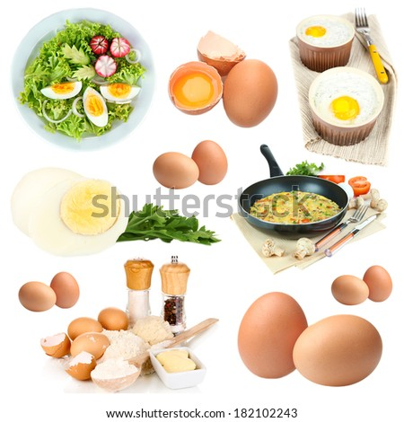 Collage of different dishes with eggs isolated on white - stock photo