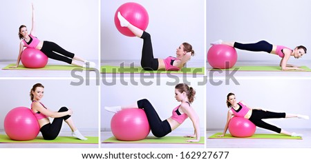 Collage of different fitness exercises - stock photo