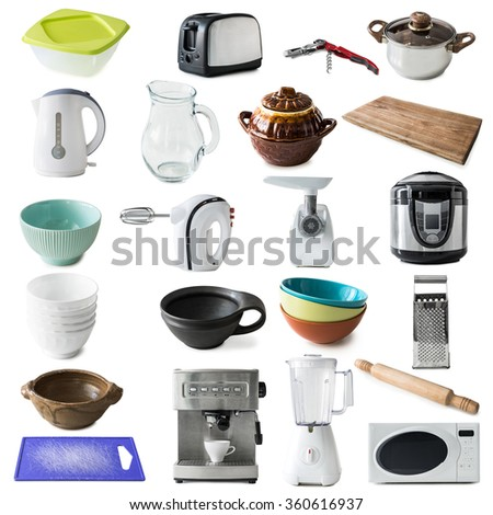 collage of different kinds of kitchen appliances and ware isolated on white background - stock photo