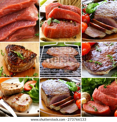collage of different kinds of raw meat beef and roasted meat - stock photo