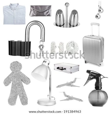 Collage of different objects in shades of gray, isolated on white - stock photo