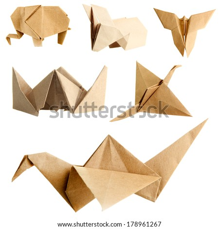 Collage of different origami papers isolated on white - stock photo