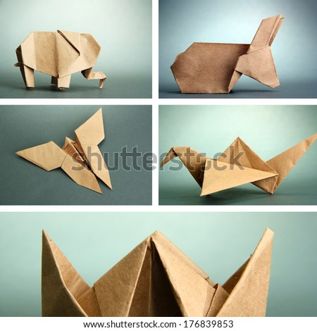 Collage of different origami papers on grey background - stock photo