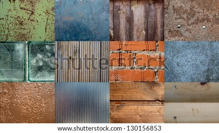 Collage of different patterns and textures - stock photo