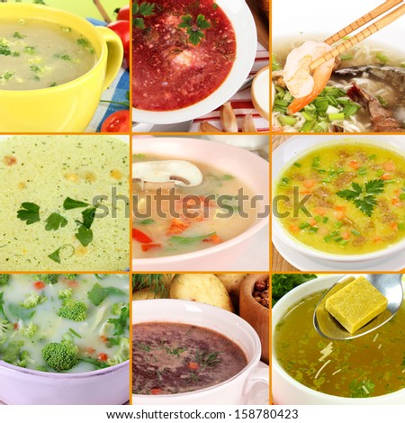 Collage of different soups - stock photo
