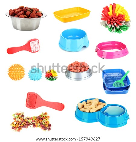 Collage of different stuff for animals - stock photo