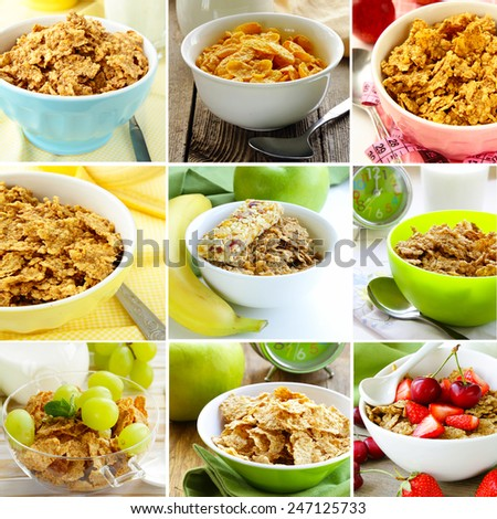 collage of different variants of muesli (granola) for breakfast - stock photo