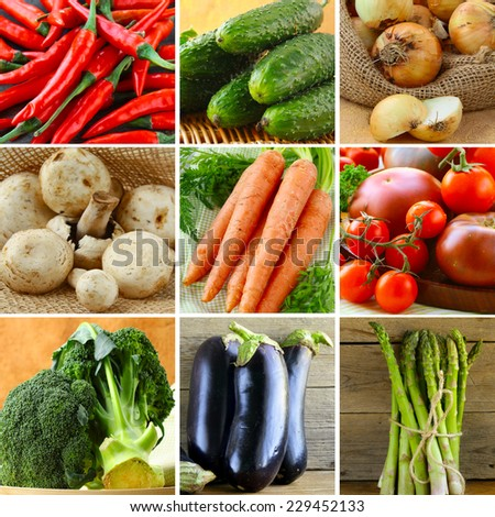 collage of different vegetables (eggplant, onions, carrots, tomatoes, peppers, asparagus) - stock photo