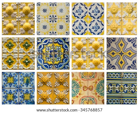 Collage of different yellow and blue pattern tiles in Lisbon, Portugal - stock photo