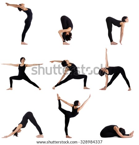 Collage of different yoga poses by pretty woman - stock photo