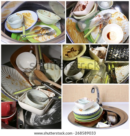 Collage of dirty dishes - stock photo