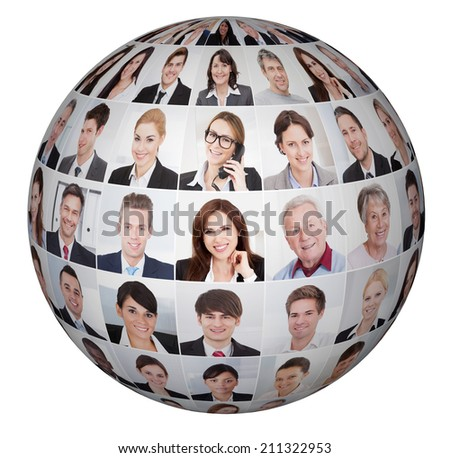 Collage of diverse business people in sphere over white background - stock photo
