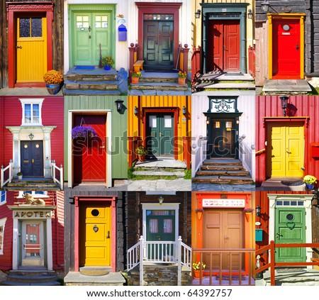 Collage of doors in Roros. Norway - stock photo