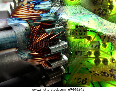 Collage of electrical and mechanical elements - stock photo