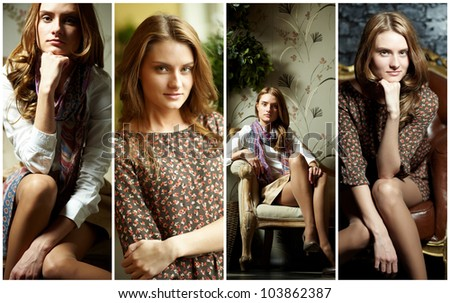Collage of elegant girl in retro style looking at camera - stock photo