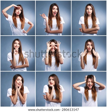 Collage of emotional girl on grey background - stock photo