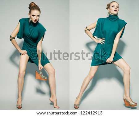 Collage of emotional portraits of a gorgeous fashion model posing in green (blue) dress over gray background. studio shot - stock photo