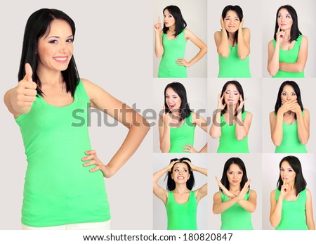 Collage of emotional young woman - stock photo