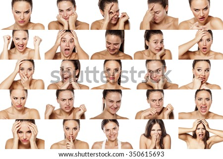collage of emotions of a one beautiful woman - stock photo