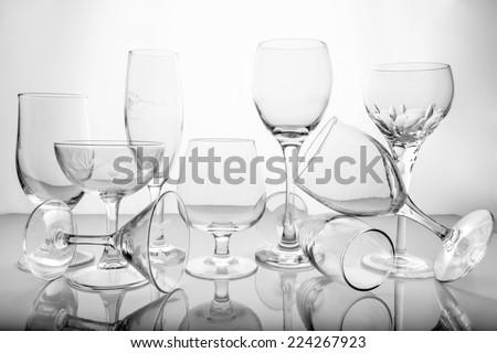 Collage of empty glasses  - stock photo