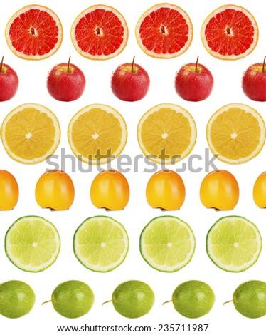 Collage of exotic fruit isolated on white - stock photo