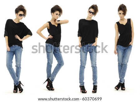 collage of fashionable young woman girl in sunglasses wearing jeans posing - stock photo