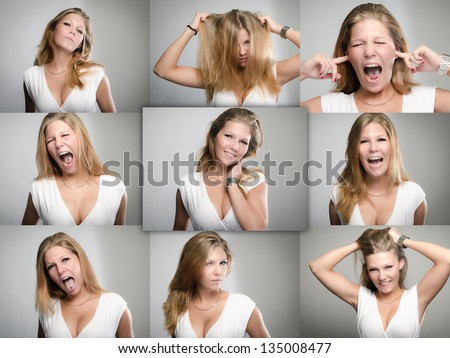 Collage of female facial expressions and emotions including, frustration, anger, envy, hatred, happiness, provocative, fear and glamour - stock photo