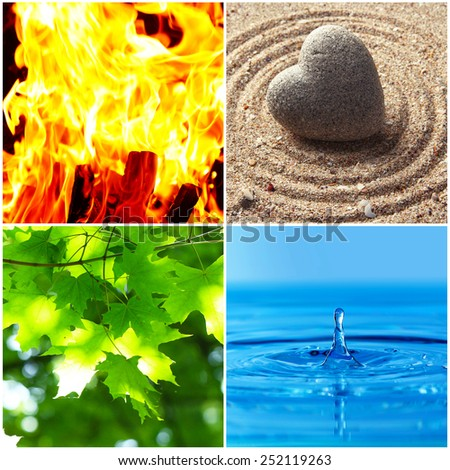 Collage of Feng Shui destructive cycle with five elements (water, wood, fire, earth, metal) - stock photo