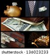 Collage of financial images includes gold piggy bank, business suit with cash, treasure chest overflowing with money and nest egg concept. - stock photo