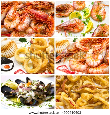 Collage of Fish and seafood - stock photo
