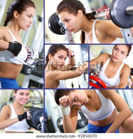 Collage of fit brunette in sport gym - stock photo