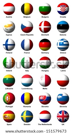 Collage of flags of the European Union with english labels - stock photo