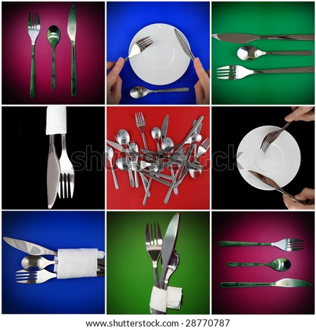 Collage of  forks, knifes, spoons  on different  backgrounds.Spotlight source on top - stock photo