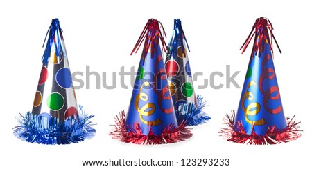 Collage of four colorful party hats, isolated on a white background - stock photo