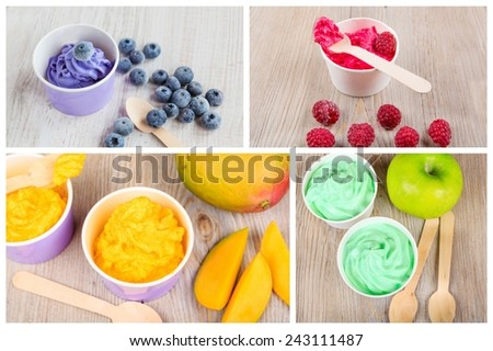 Collage of four different frozen homemade creamy ice yoghurts with fresh green apples, mangos, raspberries and blueberries and wooden spoon. Healthy bio organic and vegan dessert. - stock photo