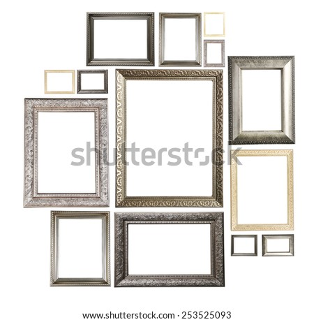 Collage of frames isolated on white - stock photo