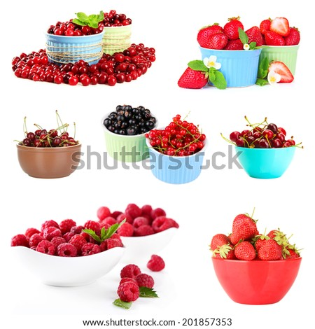 Collage of fresh berries isolated on white - stock photo
