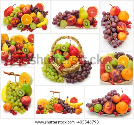 Collage of fresh fruits isolated over white background - stock photo