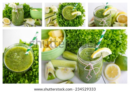 Collage of fresh organic green vegan smoothie with salad, apple, cucumber, pineapple and lemon as healthy drink - stock photo