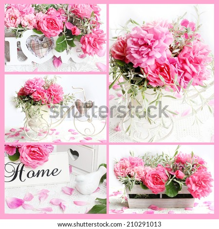 collage of Fresh roses in retro style - stock photo